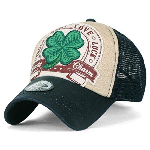 ililily Four Blatt Clover Flicken künstliches Leder Krempe Trucker Cap Hut Baseball Cap , (Girl Trucker Kostüm)