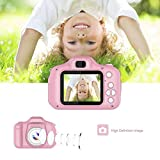 leegoal Kids Digital Camera, Dual 8MP HD Children's Cartoon Video Camera, Cute Mini Child Camcorder with Smile Focus, Soft Silicone Cover, 2 inch LED Screen for Age 3-12 Kids Girls Boys