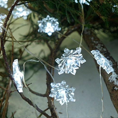 Kupferdraht mit 40 Schneeflocke LEDs Lichterkette + Fernbedienung (7 Modi, 5 Timings) Batterie Weihnachtsleuchte sternenklar und romantisch Lampenkette für Weihnachten / Hochzeit / Party Valentinstag Kaltweiß (Led Schneeflocke Licht)