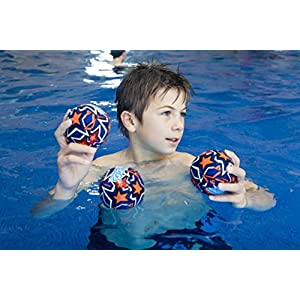 Zoggs Kids Water Friendly Splash Neoprene Covered Balls - Orange/Blue with Star Print