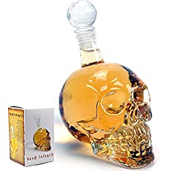 BonZeal Crystal Decanter, In Shape of Skull Head 1000ml, Pack of 1, Transparent