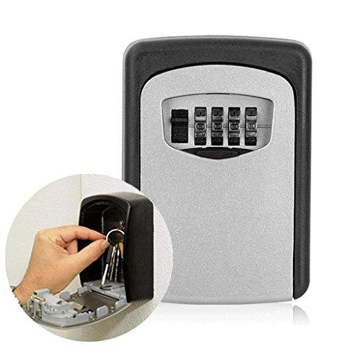 DZW Schlüssel Safe Box, 4-Stellige Kombination Lock Box, Beste Outdoor Wall Mounted Key Box - Ideal Für Ältere Eltern Spare House Keys (Lock-box Home-taste,)