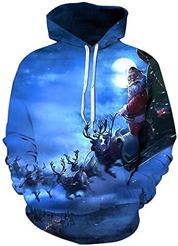 TDOLAH Femme Sweats à capuche Automne Tops à Manches Longues Sweat-shirt Swag Pull Hoodie Taille Grande (XXL/3XL, Père Noël-4)