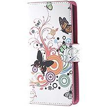 Huawei Y635 Cover,Funda de Cuero Cartera Piel Cubierta con Soporte Protección Flip Case Cover para Huawei Ascend Y635 Carcasa Piel Caso-Mariposa 01