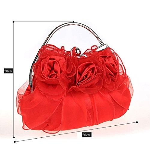 Nuovo fiori borsa borsa borsa da sera sposa di modo della borsa banchetto ( Colore : Rose red ) Rose red