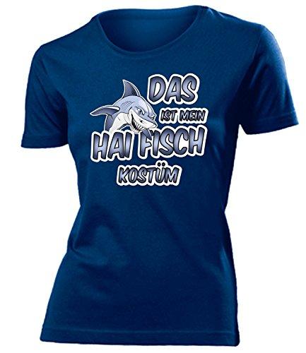 Kostüm Links Hai - Hai Fisch Kostüm Kleidung 4491 Damen T-Shirt Frauen Karneval Fasching Faschingskostüm Karnevalskostüm Paarkostüm Gruppenkostüm Navy L