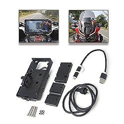 Motorrad-Halterung für Handy, Smartphone, GPS-Gerät, mit fixem Bügel und USB-Ladevorrichtung für Honda Africa Twin CRF1000L, BMW F700 800 GS R 1200 GS ADV