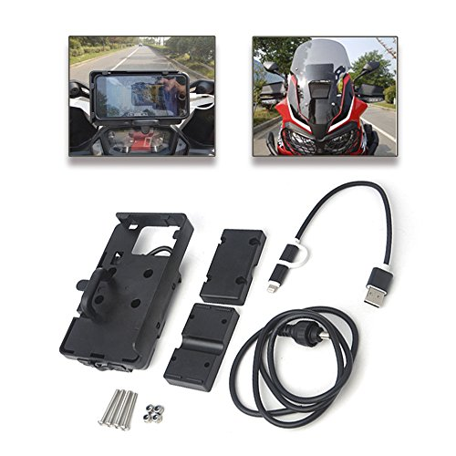 Gs Navigation (Motorrad-Halterung für Handy, Smartphone, GPS-Gerät, mit fixem Bügel und USB-Ladevorrichtung für Honda Africa Twin CRF1000L, BMW F700 800 GS R 1200 GS ADV)