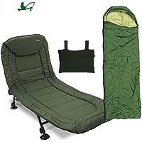 Pesca sillón reclinable tumbona 6 LEG pesca vinex Set con almohada y luz verde saco de