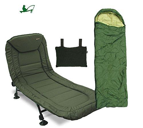 Angeln Liege/Weigh Angler Bedchair 6Bein Set mit Kissen und Hellgrün Schlafsack