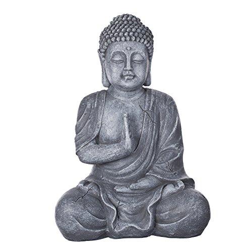 Willken Arts Buddha B4017 Steingrau Figur XL 43 cm hoch Statue groß, Büste, Figur, Buddhismus
