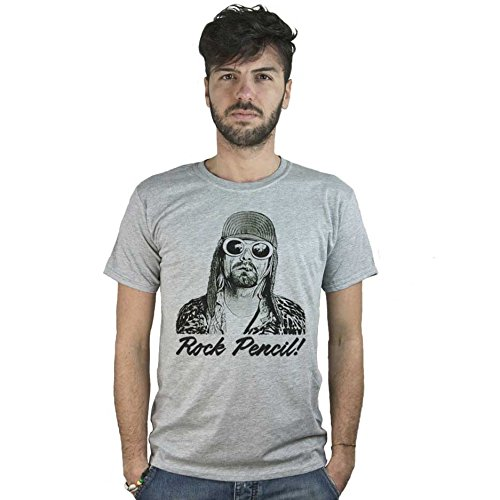 T-Shirt Kurt Cobain Rock Pencil, maglietta grigia Nirvana Disegno stile Matita