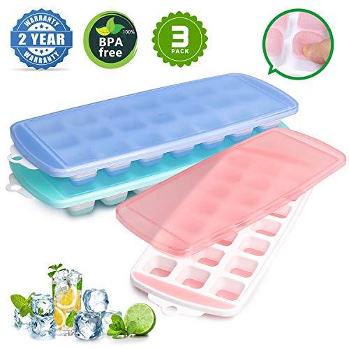 Magicdo 3 Packs Eiswürfelschale, Silikon Eiswürfelform mit Deckel, LFGB Zertifiziert BPA frei Silikon EIS Cube Formen Babynahrung, Wein, Schokolade und andere Getränke Eisformen (21Cubes / Pack)