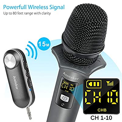 Handheld Wireless Microphone, Ansteker UHF Wireless Microphone with Mini Bluetooth Receiver for Conference, Karaoke, Weddings, Church, Stage, Party