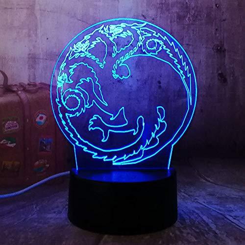 für kinder / 3d illusion nachtlicht/halloween geburtstagsgeschenk/wohnkultur/touch button/house of targaryen ()