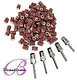 Beauticom-®-Extra-Coarse-Grit-#80-Nail-Sanding-Bands-(Fits-All-Dremel)-(Quantity:-100pcs)-AND-Beauticom-Silver-3/32-Mandrel-Bit--For-Nail-Drill/File-(Quantity:-5-Pieces)