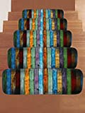 RedBeans bunt gestreift Seestern auf Das Holz Board Stufenmatte Treppenstufe Anti-Rutsch-Teppich, Rechteck Stufenmatten Pads, Indoor Outdoor Gummimatten für Treppe, Set von 5