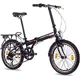 Bicicleta plegable de aleación de 20pulgadas de lujo City Bike CHRISSON foldrider 1.0con 7velocidades Shimano Unisex Negro