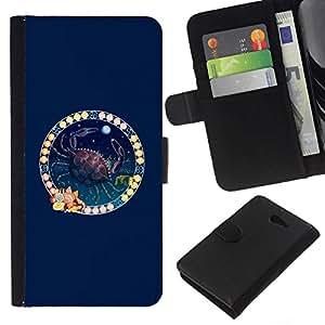 NICE GIFT GOOD PRESENT // Smartphone-Schutzhülle Hartschalen-Tasche Hülle HandyHülle für Mobiltelefon Sony Xperia M2 / Tierkreis-Krebs /