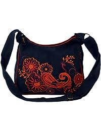 Guru-Shop Schultertasche, Hippie Tasche, Goa Tasche - Schwarz/rot, Herren/Damen, Baumwolle, 23x28x12 cm, Alternative Umhängetasche, Handtasche aus Stoff