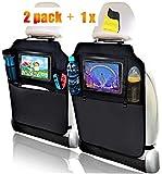 Organizadores para Coche Kick Mat, HE-TOP 2 Pack Impermeable Protector de Asiento Respaldo,Universal Multi-Bolsillo Organizador para Asiento Trasero de Coche Sorporte Soporte para 10'' iPad Tablet