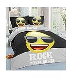 MA ONLINE Emoji Smiley Bedrucktes Bettwäsche-Set für Einzelbett, Doppelbett, King-Size, Bettdeckenbezug, Emoji Black Single, Einzelbett-Größe