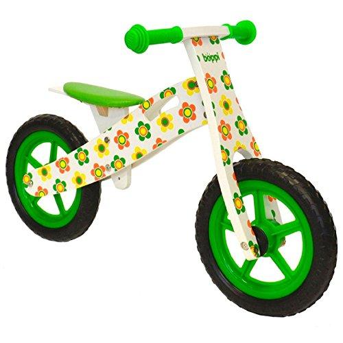 boppi® Bici sin pedales de madera para niños de 2-5 años - Verde/Naranja con Flores