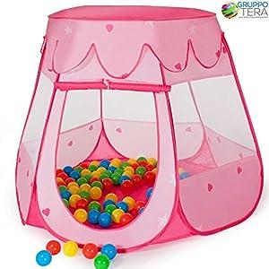 Bakaji Tenda Casetta Gioco per bambini con 100 Palline Colorate Giochi Salvaspazio Pieghevole POP-UP con borsetta da trasporto, Colore Rosa