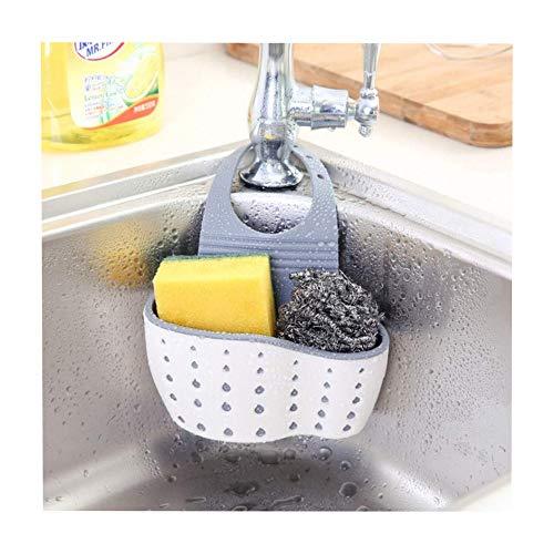 EXQULEG Abtropfbrett,Hängende Aufbewahrungsbox Rack Korb Schwamm Wasche Tuch Küche Badezimmer Gadgets Spüle Storage Korb (Beige) (Trockene Tücher Rack)