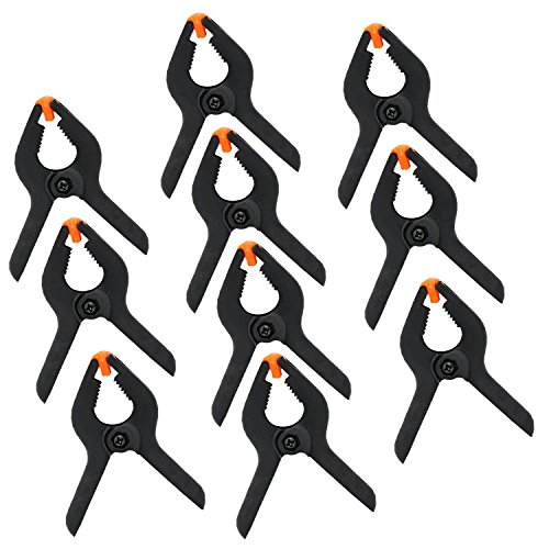 KEESIN 10 Stück 3Inch Schwarz Kunststoff Nylon Kulisse Federklemmen DIY Secure Grip Clips (10P-3inch)