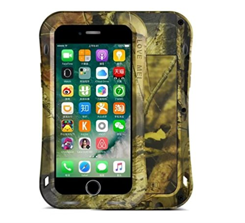 "iPhone 7 4,7"" Strap Case, i-Nings Heavy duty Small Waist water resistant Extremely Shock/Snow/Dirt Proof aluminum Cover with gorilla glass screen for Apple iPhone 7 4,7"" (Jungle Camouflage) Jungle Camouflage"