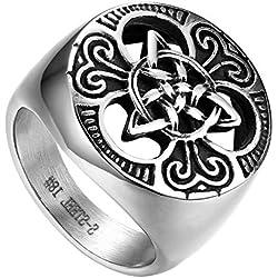 Flongo Anillo de Compromiso para Hombre, Anillo de Sello Grande Celta celtico Anillo de Nudo irlandés, Amuleto Anillo de Acero Inoxidable, Talla 30