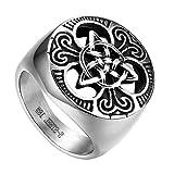Flongo Anillo de Compromiso para Hombre, Anillo de Sello Grande Celta celtico Anillo de Nudo irlandés, Amuleto Anillo de Acero Inoxidable, Talla 22