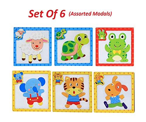 Babytintin Wooden Colorful Learning Magnetic Animal Puzzle Blocks Game with Drawing Board Educational Toy for Kids(Set of 6) (Assorted Modals)