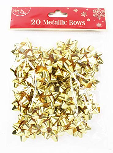 Christmas Gift Bows 20 Pack Gold +Free Dots (Candy Bulk Gold)