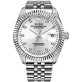 BUREI Herren armbanduhr mit Datumsanzeige silbernen Ziffernblatt und Edelstahlarmband (Silber)