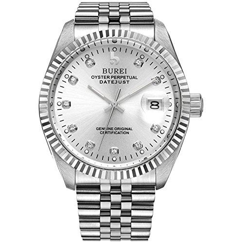 BUREI Casual Herren Armbanduhr Automatik Mechanische Selbstaufzug Automatik Männer Uhr Analog mit Saphirglas und Datum Kalender Diamant