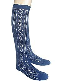 86b266185fc JHosiery Filles chaussettes hautes scolaires Pointelle poignets festonnés