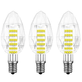 5W E14LED candela lampadina, bianco caldo 3000K lampada Edison piccolo puro cristallo k9, equivalente a una lampadina a incandescenza da 40W, 430lumens 230V non dimmerabile, kindeep, cristallo, Daylight White 6000K, e14, 5.00 wattsW 230.00 voltsV