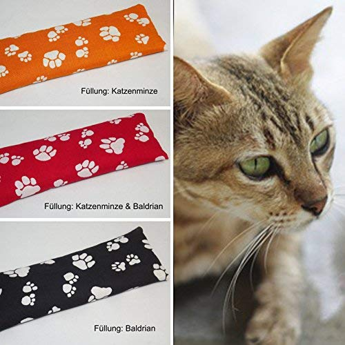 DIE NÄHZWERGE Bio Katzenspielkissen mit Baldrian Katzenminze Catnip, ohne künstliche Duftstoffe | Katzenspielzeug Stinkekissen (Katzenminze + Baldrian-Mix (rot), 3-Stück-Mix) (Heiße Katzen Katzenminze Spielzeug)