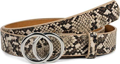 styleBREAKER Damen Gürtel mit Schlangen Muster und Ringschnalle, Hüftgürtel, Taillengürtel 03010094, Größe:90cm, Farbe:Braun-Beige Leder Animal-print