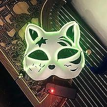 FYPmj máscara Pintado con máscara de Zorro Fluorescente Estilo japonés y Viento Demonio Gato Dos yuanes