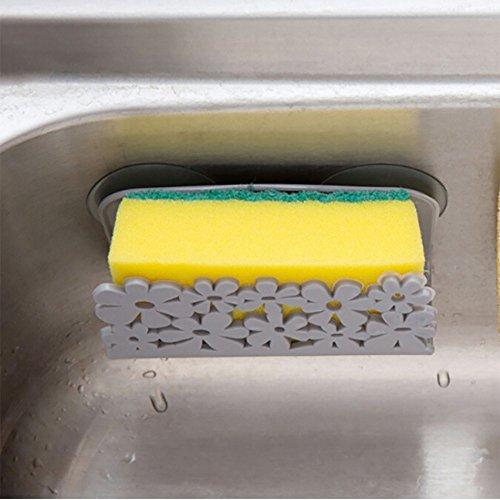 Yooshen Geschirrtücher Rack Saugnapf Halter Clip Lappen Lagerregal,Bad und Küche Speicherung Rack (Grau)