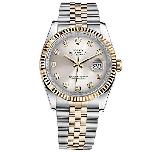 rolex-datejust-36-en-acier-or-jaune-cadran-montre-en-acier-argente-diamant-116233