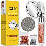 Ionic Shower Heads Handheld High Pressure Water Saving 3 Modes Adjustable Filter Showerhead for Hard Water Low Water Pressure Contains Additional Replaceable Stone