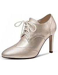 HUAIHAIZ Tacones de mujer La correa de sujeción es el PU noche zapatos de tacones altos,39, con color champán