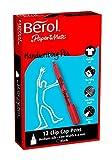 Berol Handwriting Pen Clip Cap Medium Nib 0.6mm - Black (Box of 12)