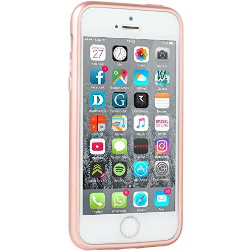 METALLIC Schwarz Hülle Apple iPhone SE / 5 / 5S - TPU Silikon Backcover Case Handy Schutzhülle Metall Optik Glossy- MOVOJA Cover Metallic iPhone 5 Schwarz Gold