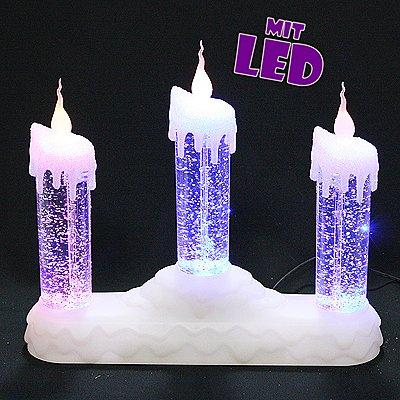 3er LED Kerzenleuchter mit Glitterwirbel und Farbwechsel, ca. 30 cm