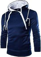 VECDY Herren Bluse,Räumungsverkauf- Herren Lange Ärmel Patchwork Hoodie mit Kapuze Sweatshirt Top Tee Outwear Bluse...